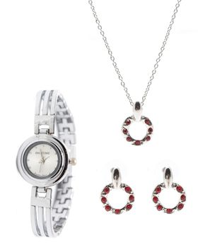 Digitime Ladies Watch And Drop Circles Jewellery Set