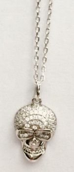 Fred Tsuya Skull Pendant Necklace 925 Silver 18k - White Gold Plated