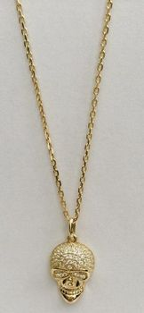 Fred Tsuya Skull Pendant Necklace 925 Silver 18k - Yellow Gold Plated