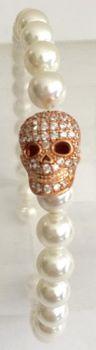 Fred Tsuya Skull Pearl Bracelet 925 Silver 18k - Rose Gold Plated