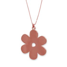 Solid Daisy Flower Necklace - Rose Gold
