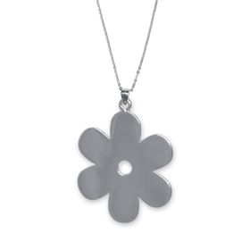Solid Daisy Flower Necklace - Sterling Silver