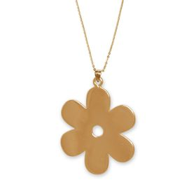 Solid Daisy Flower Necklace - Yellow Gold