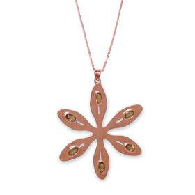 Agapanthus Flower Necklace - Orange Citrine - Rose Gold