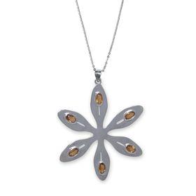 Agapanthus Flower Necklace - Orange Citrine - Sterling Silver