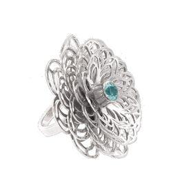 Dahlia Flower Ring - Blue Topaz - Sterling Silver (Size: P)