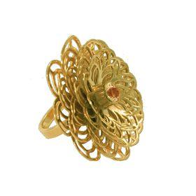 Dahlia Flower Ring - Orange Citrine - Yellow Gold (Size: P)