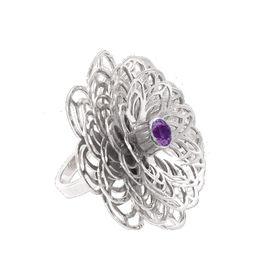 Dahlia Flower Ring - Purple Amethyst - Sterling Silver (Size: P)