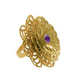 Dahlia Flower Ring - Purple Amethyst - Yellow Gold (Size: P)