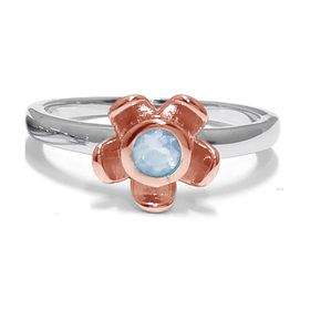 Forget Me Not Flower Ring - Blue Topaz - Rose Gold (Size: P)