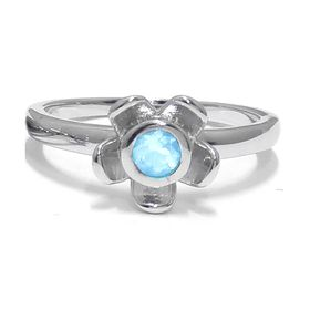 Forget Me Not Flower Ring - Blue Topaz - Sterling Silver (Size: P)
