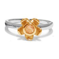 Forget Me Not Flower Ring - Orange Citrine - Yellow Gold (Size: P)