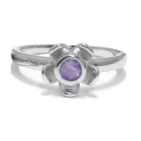 Forget Me Not Flower Ring - Purple Amethyst - Sterling Silver (Size: P)