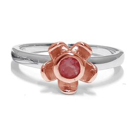 Forget Me Not Flower Ring - Red Garnet - Rose Gold (Size: P)