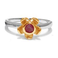 Forget Me Not Flower Ring - Red Garnet - Yellow Gold (Size: P)