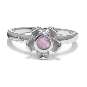 Forget Me Not Flower Ring - Rose Quarts - Sterling Silver (Size: P)