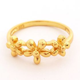 Yesterday Today Tomorrow Flower Ring - Yellow Gold (Size: P)