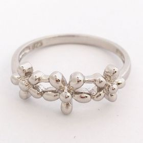 Yesterday Today Tomorrow Flower Ring - Sterling Silver (Size: P)