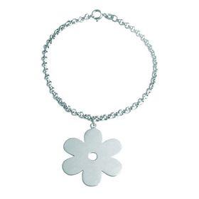 Solid Daisy Flower Bracelet - Sterling Silver