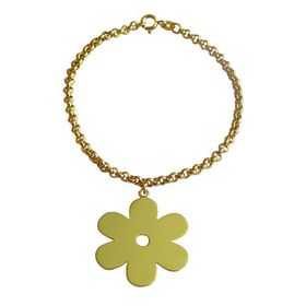 Solid Daisy Flower Bracelet - Yellow Gold