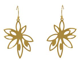 Bromelia Flower Earrings - Yellow Gold