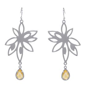 Bromelia Flower Earrings - Orange Citrine - Sterling Silver