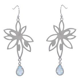 Bromelia Flower Earrings - Blue Topaz - Sterling Silver