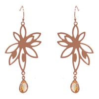 Bromelia Flower Earrings - Orange Citrine - Rose Gold
