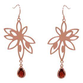 Bromelia Flower Earrings - Red Garnet - Rose Gold