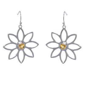 Namaqua Daisy Flower Earrings - Orange Citrine - Sterling Silver