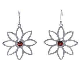 Namaqua Daisy Flower Earrings - Red Garnet - Sterling Silver