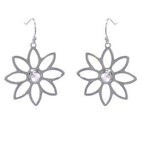 Namaqua Daisy Flower Earrings - Rose Quartz - Sterling Silver