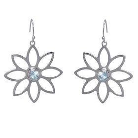 Namaqua Daisy Flower Earrings - Blue Topaz - Sterling Silver
