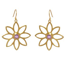 Namaqua Daisy Flower Earrings - Purple Amethyst - Yellow Gold