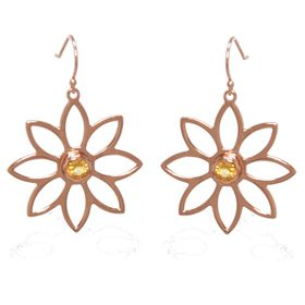 Namaqua Daisy Flower Earrings - Orange Citrine - Rose Gold