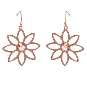 Namaqua Daisy Flower Earrings - Rose Quartz - Rose Gold