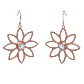 Namaqua Daisy Flower Earrings - Blue Topaz - Rose Gold
