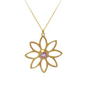 Namaqua Daisy Flower Necklace - Purple Amethyst - Yellow Gold