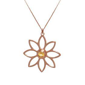 Namaqua Daisy Flower Necklace - Orange Citrine - Rose Gold