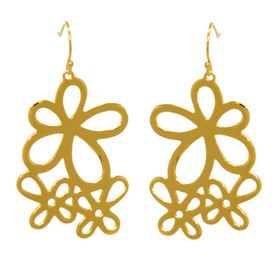 Jasmine Posy Flower Earrings - Yellow Gold