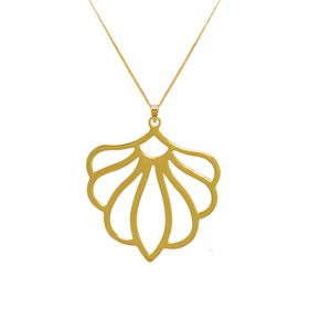 Peony Flower Necklace - Yellow Gold