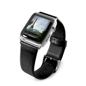 Tuff-Luv Genuine Leather Wrist Watch Strap Band and Connector for Apple Watch Strap 42mm - Black