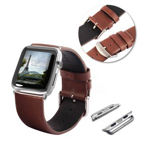 Tuff-Luv Genuine Leather Wrist Watch Strap Band and Connector for Apple Watch Strap 42mm - Brown