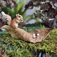Miniature Fairy Gardens Squirrel With Nuts On A Leaf