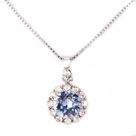 Civetta Spark Brilliance Pendent - Made with Light Sapphire Swarovski® Crystal & Sterling Silver Chain