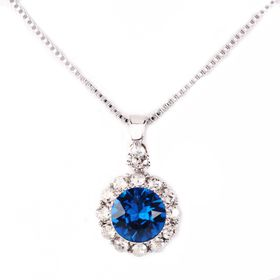 Civetta Spark Brilliance Pendent - Made with Royal Blue Swarovski® Crystal & Sterling Silver Chain
