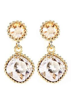 Civetta Spark Cushion-cut earring - made with Golden and Silver Shade Swarovski crystal