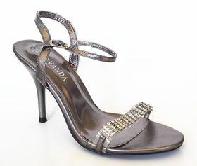 Lavanda Heel Sandal with Diamante Trim -  Pewter