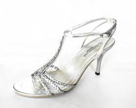 Lavanda Heel Sandal with Diamante T-bar Trim - Silver