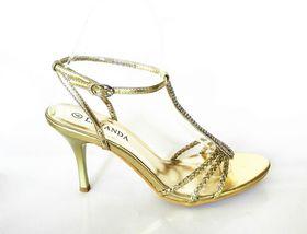 Lavanda Heel Sandal with Diamante T-bar Trim - Gold